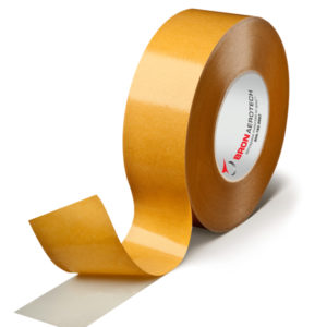 Double-sided filmic tape with high adhesion